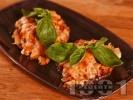 Рецепта Пълнени гъби портабело с бял боб (фасул) и сирене моцарела (или кашкавал), запечени на фурна
